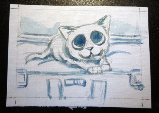 Painting an aceo Step 2
