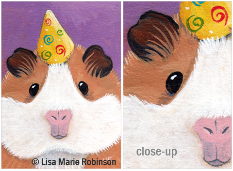 ACEO Party Guinea Pig © Lisa Marie Robinson