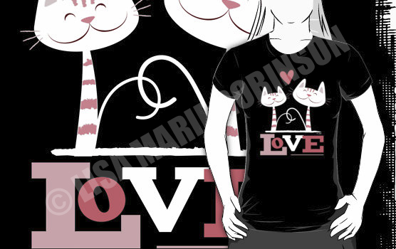 Buy Cats In Love tshirt at Redbubble