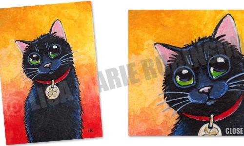 Clover: Lucky Black Cat ACEO Art