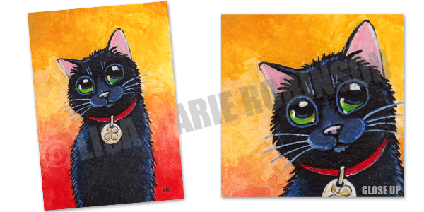 Clover: Lucky Black Cat ACEO Art