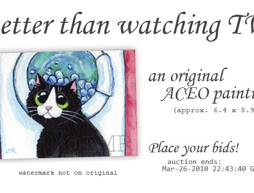 Cat ACEO - Better than tv © Lisa Marie Robinson