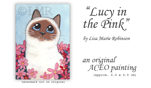 Cat ACEO Lucy in the pink - © Lisa M Robinson