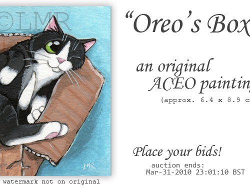 Cat ACEO Oreos Box © Lisa Marie Robinson