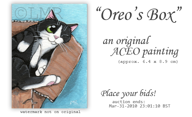 Cat ACEO Oreos Box © Lisa Marie Robinson