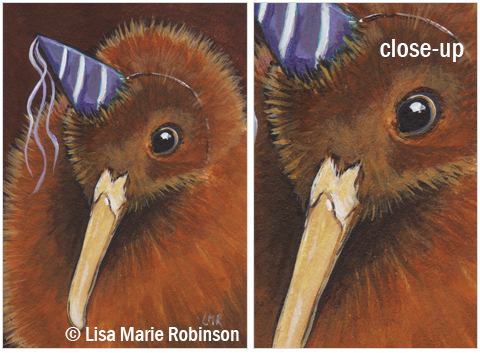 Original ACEO - Kiwi in a Party Hat © Lisa Marie Robinson