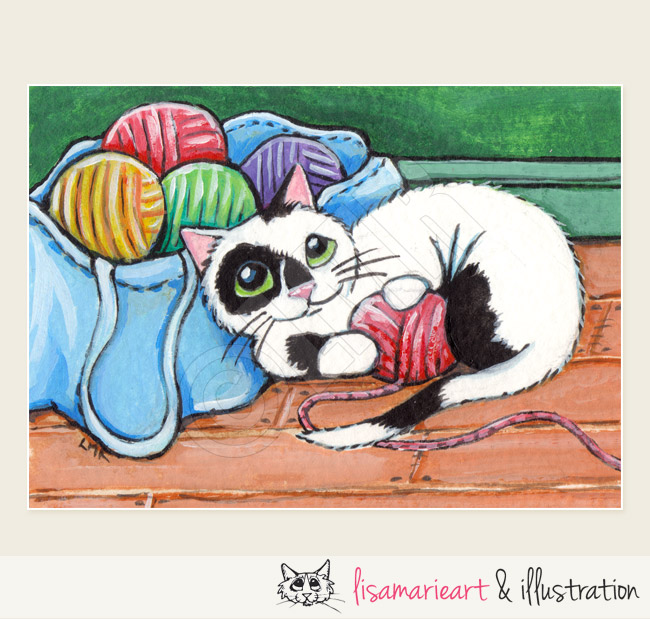 Multicoloured Balls of Fun Cat ACEO