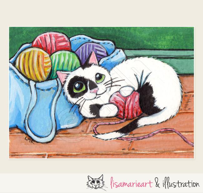 Multicoloured Balls of Fun Cat ACEO