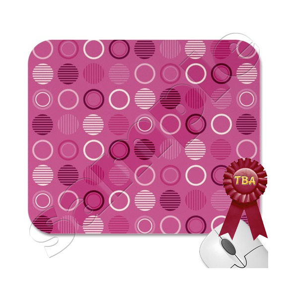 TBA Winner - Pink & White Retro Circles Mousepad