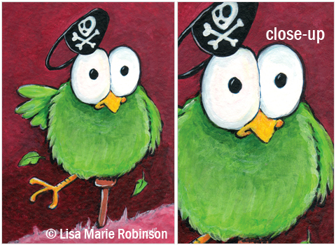 ACEO Unsteady Eddie Pirate Bird Series © Lisa Marie Robinson