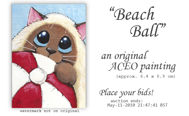 Original Cat ACEO: Beach Ball © Lisa Marie Robinson