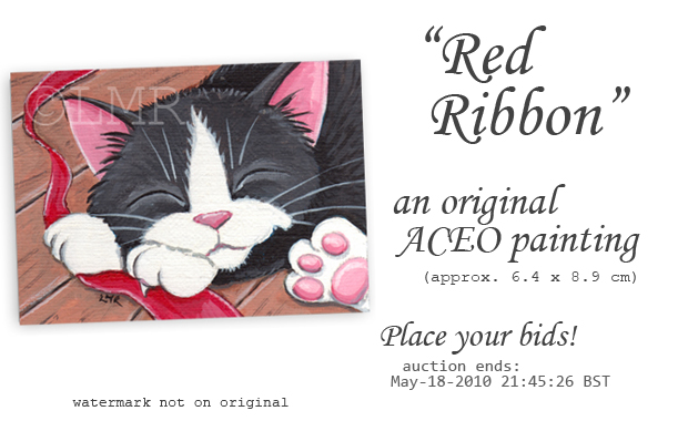 Original Cat ACEO: Red Ribbon © Lisa Marie Robinson