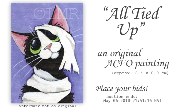 Original Cat ACEO - All Tied Up © Lisa Marie Robinson