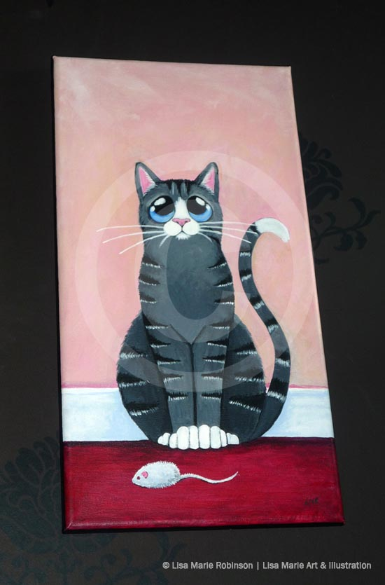 Work in Progress: Grey Tabby Cat with Toy Mouse Painting © Lisa Marie Robinson