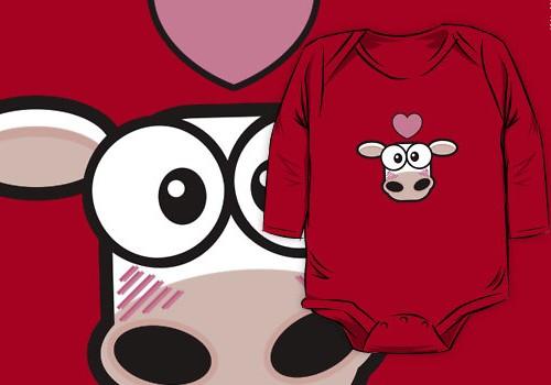 Love Struck Cow Baby One-Piece © Lisa Marie Robinson