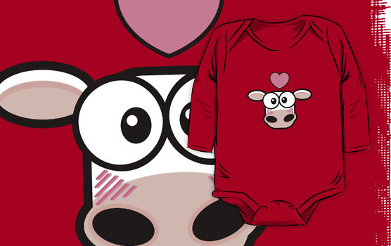 Love Struck Cow Baby One-Piece © Lisa Marie Robinson