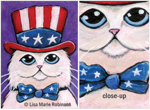 ACEO-USA-Patriotic-Persian-Cat © Lisa Marie Robinson