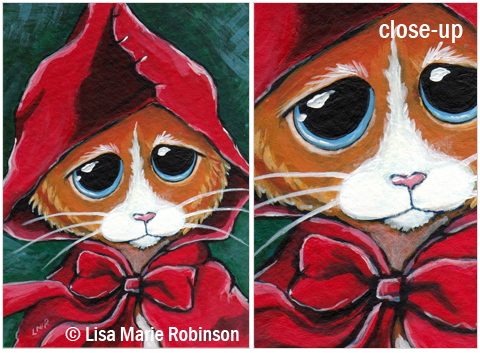 Cat ACEO Little Red Riding Hood © Lisa Marie Robinson