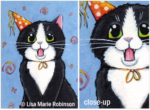 Cat ACEO Its My Birthday © Lisa Marie Robinson