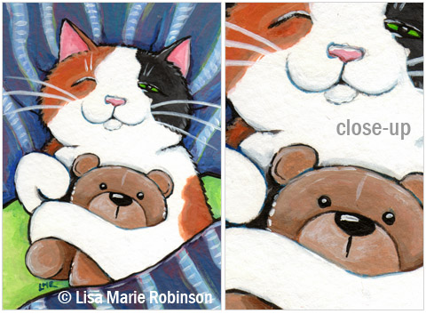 Calico Cat ACEO: One Eye Open © Lisa Marie Robinson