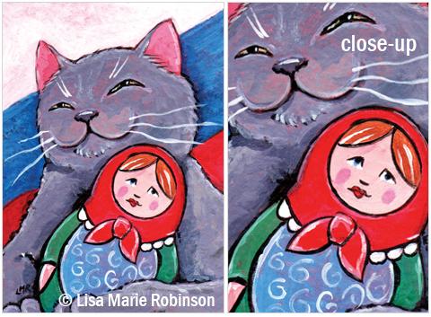 Cat ACEO Russian Blue and Babushka © Lisa Marie Robinson