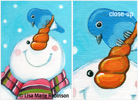 ACEO Snowman and Bluebird © Lisa Marie Robinson