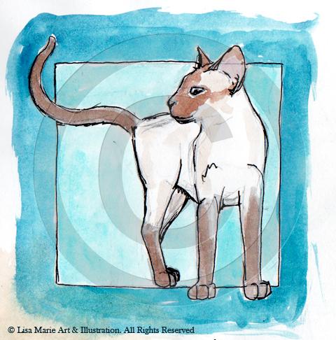 Siamese Cat Watercolour Ink Sketch © Lisa Marie Robinson