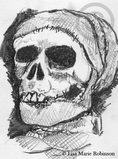 Skeleton Mummy Pencil Sketch © Lisa Marie Robinson
