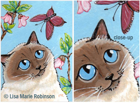 Cat ACEO Charlotte and Butterfly © Lisa Marie Robinson