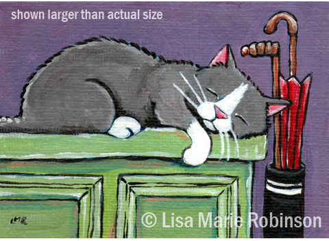 Cat ACEO Chloe on the sideboard © Lisa Marie Robinson