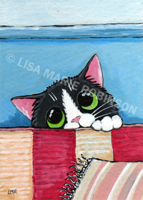 Cat ACEO Sox Behind the Sofa © Lisa Marie Robinson