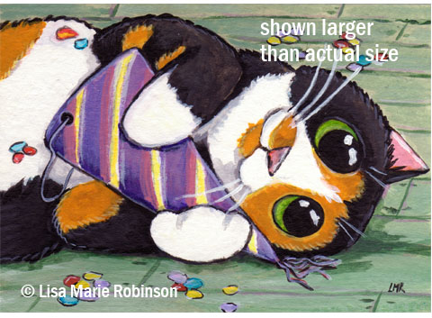 Calico Cat ACEO The Party is Over © Lisa Marie Robinson