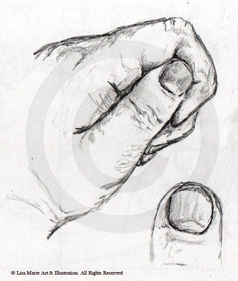 Hand pencil sketch © Lisa Marie Robinson