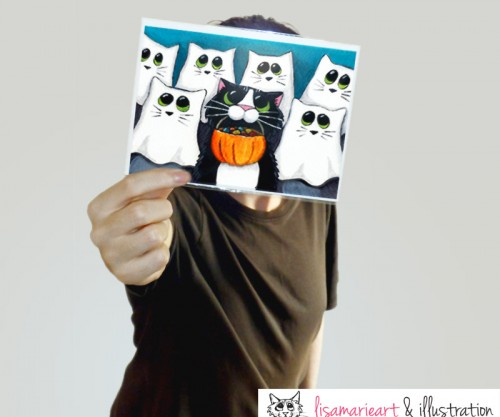 Happy Customer - Halloween Cat Greeting Card