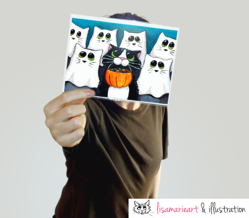 Happy Customer - Cat Halloween Greeting Card