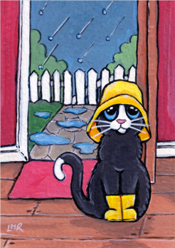 Cat ACEO: Got My Souwester, Let's Go!