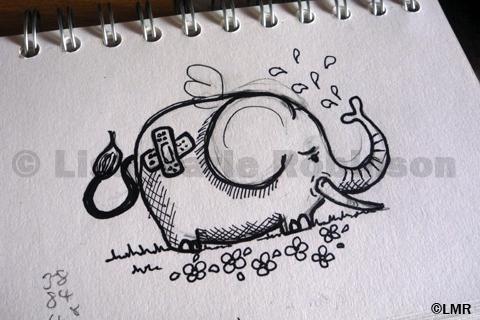 Sharpie Pen Elephant Doodle