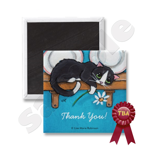 Cat Holding Daisy Thank You Magnet