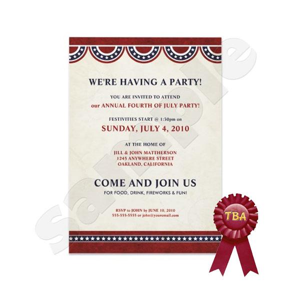 TBA Winner - July 4th Party Invitations