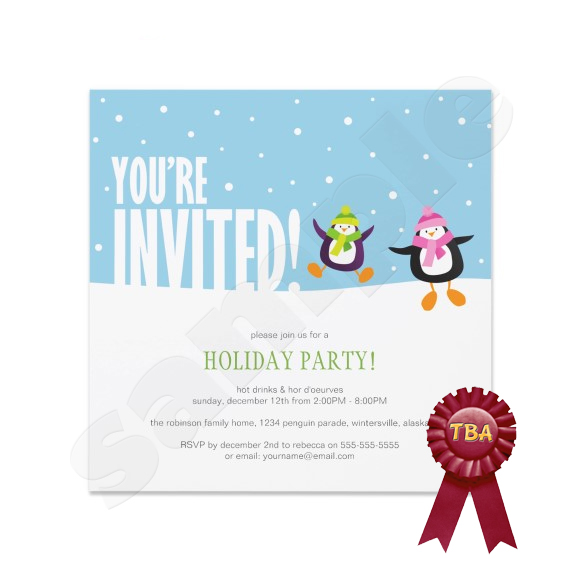 Penguin Holiday Party Invitation