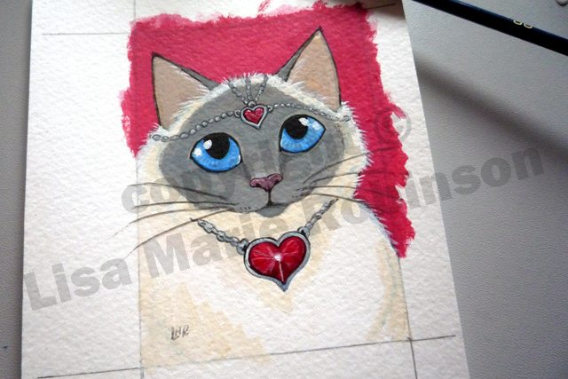 Queen of Hearts Cat ACEO