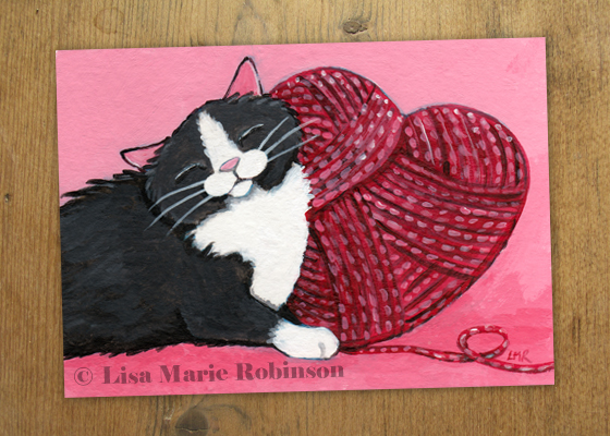 Yarn Love - Cat ACEO by Lisa Marie Robinson