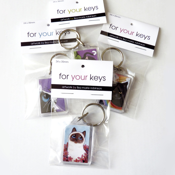 Cat and Animal Art Keyrings