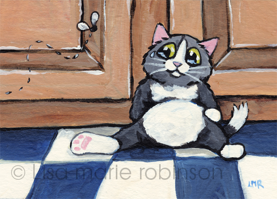 ACEO - The Cat that was Scared of a Fly