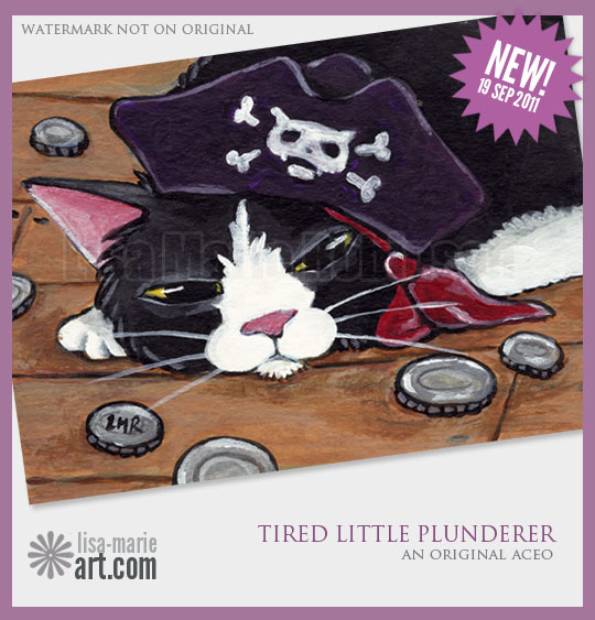 19.9.11 Tired Little Plunderer cat aceo by Lisa Marie Robinson