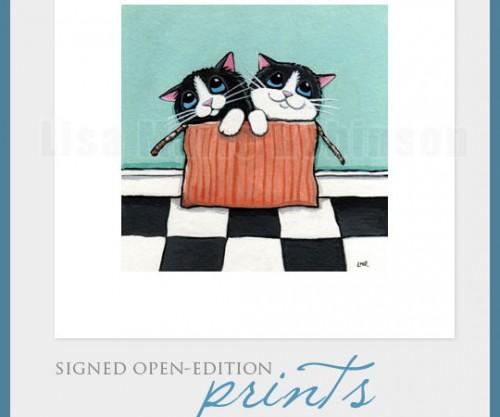 Signed Mini Cat Art Prints by Lisa Marie Robinson
