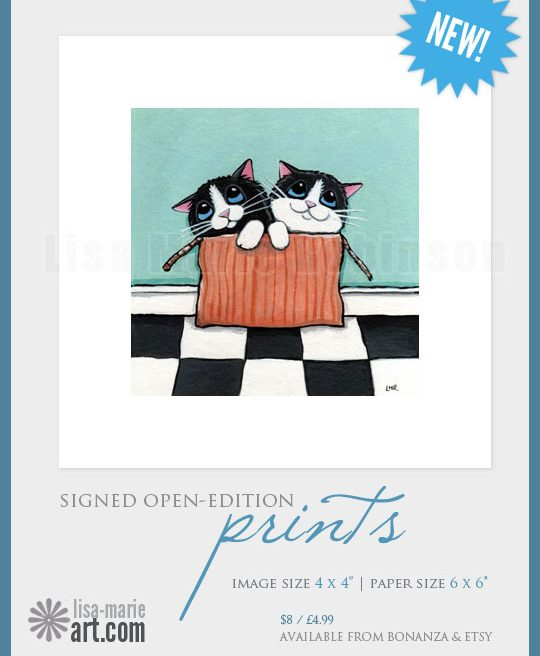 Signed Mini Cat Art Prints by Lisa Marie Robinson