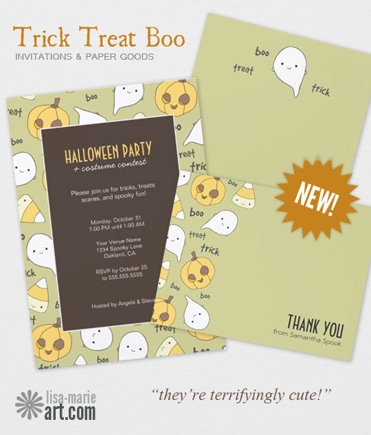 Trick Treat Boo Invites and Paper Goods by Lisa Marie Robinson