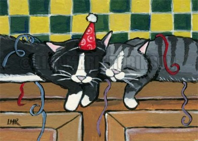 Pooped Out Partiers Cat ACEO by Lisa Marie Robinson