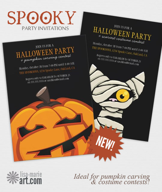Spooky Halloween Party Invitations by Lisa Marie Robinson